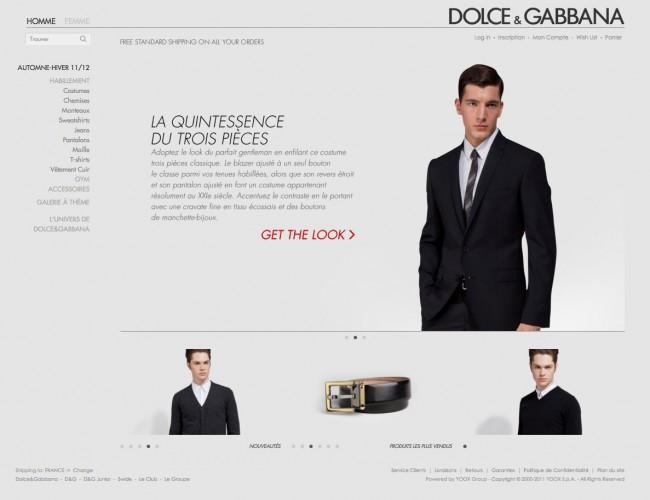Dolce&Gabbana - homepage du nouveau site e-commerce