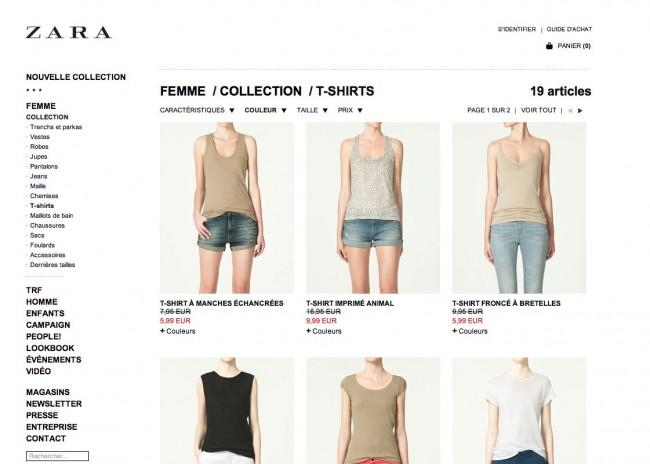 Zara - critères sélectionnés masqués impossibles à supprimer d'un seul clic