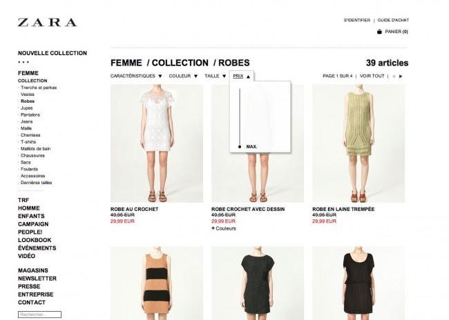 Zara - affinage par prix peu pratique