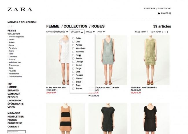 Zara - critères cliquables peu mis en valeur