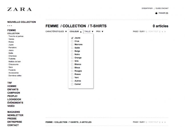Zara - une sélection simple ne retourne aucun produit