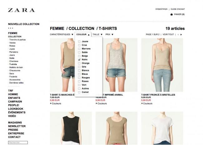 Zara - les visuels des articles n'affichent pas la couleur sélectionnée