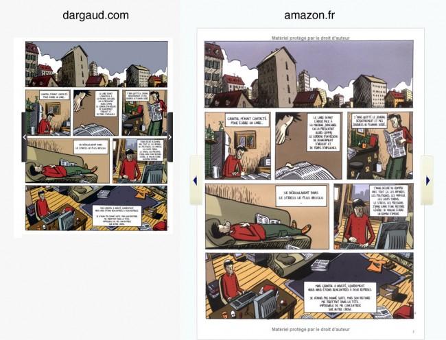 Dargaud - comparaison d'une même planche sur dargaud.com et amazon.fr