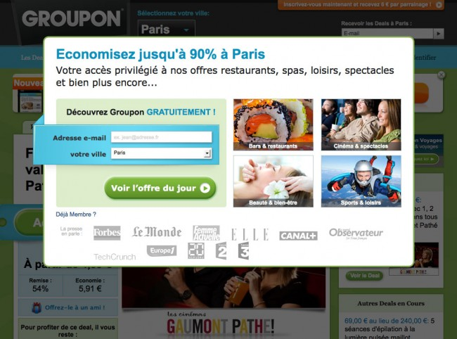 Groupon - page d'accueil et layer