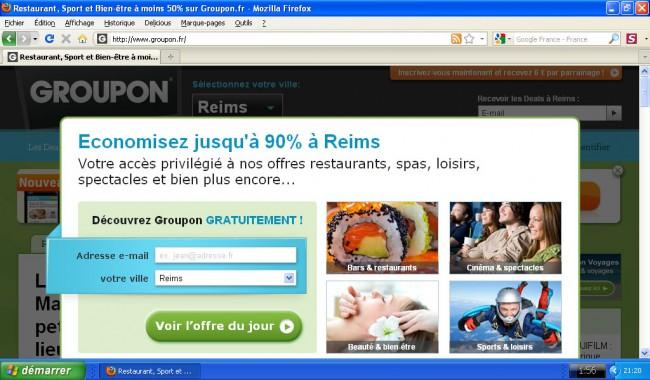 Groupon - affichage de la homepage sur un netbook