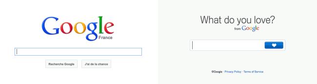 WDYL - comparaison des pages d'accueil de Google et de WDYL