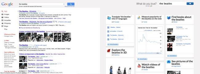 WDYL - comparaison des pages de résultats de Google et de WDYL