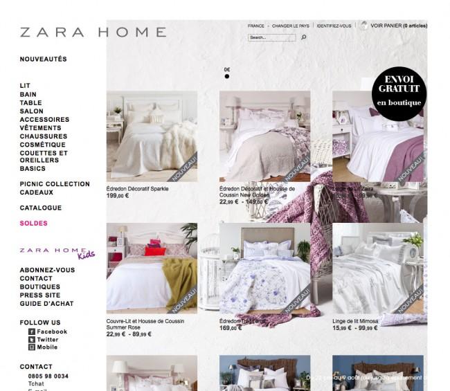Zara Home - page liste avec image de fond