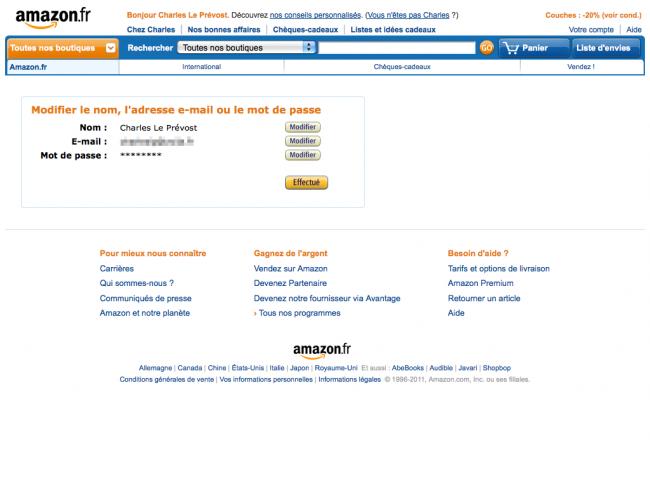 Amazon : nom, adresse e-mail et mot de passe