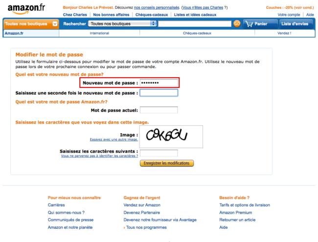 Amazon : nouveau mot de passe