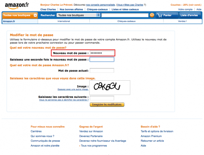 Amazon : changement de mot de passe