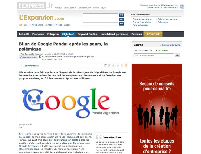 LExpress / LExpansion - bilan de Google Panda