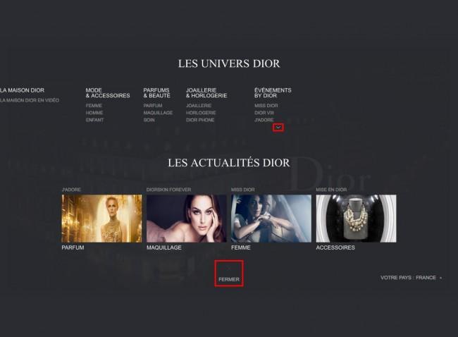 Dior.com - menu principal