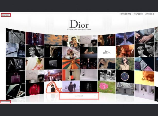 Dior.com - mur de vidéos