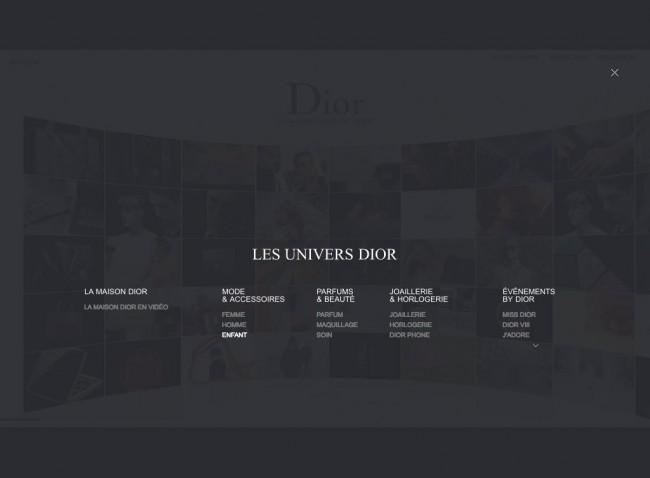 Dior.com - menu tronqué en surimpression