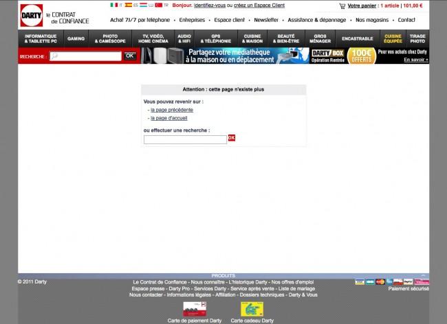 Darty.com - page d'erreur