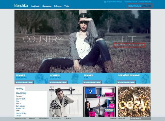 Bershka - des éléments qui rappellent qu'il s'agit d'un site e-commerce