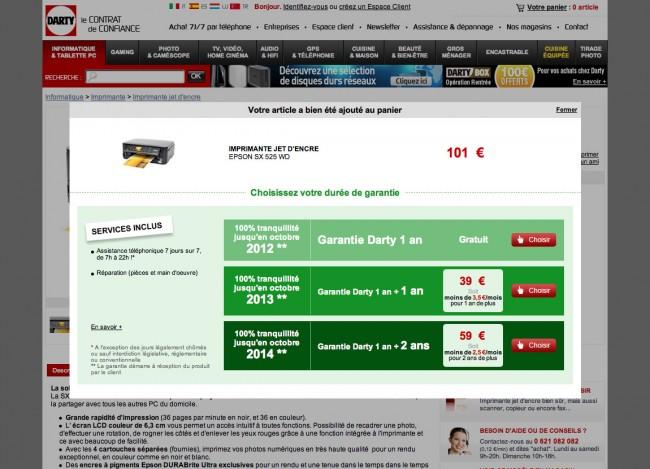 Darty.com - layer permettant de choisir sa durée de garantie
