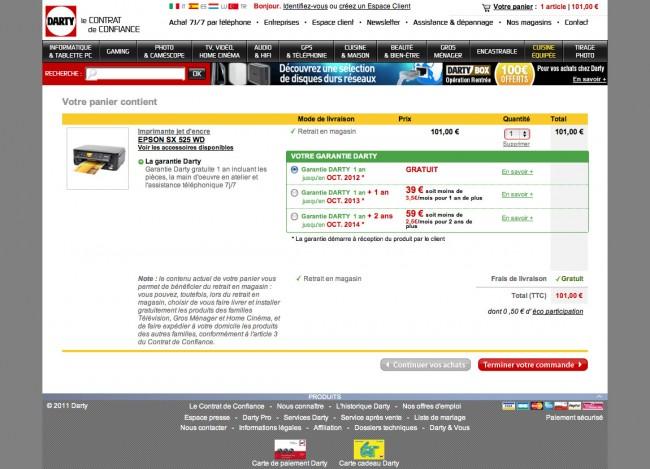 Darty.com - page panier