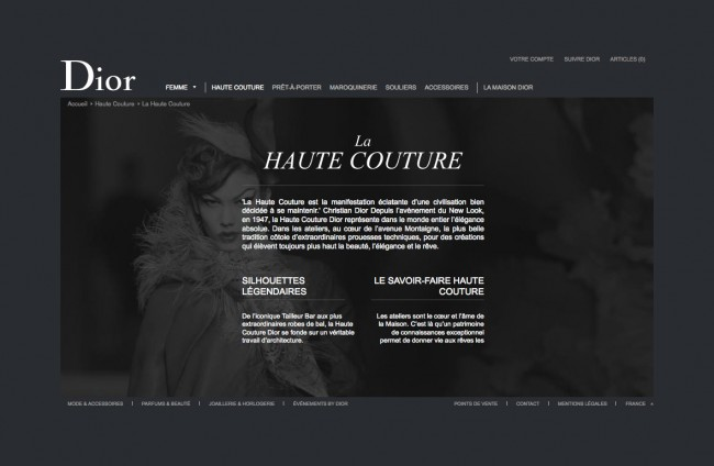 Dior.com - découvrir le savoir-faire haute couture