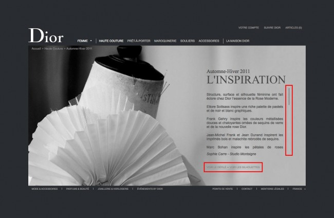 Dior.com - collection automne hiver 2011, l'inspiration