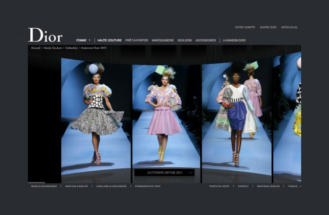Dior.com - défilé des silhouettes