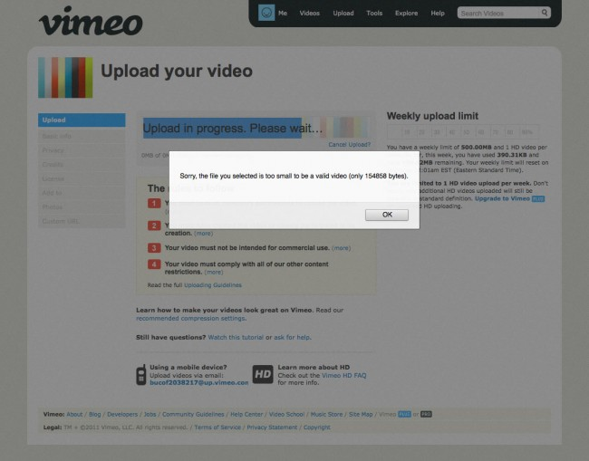 Littlebigmistakes - poids minimal d'une vidéo sur Vimeo