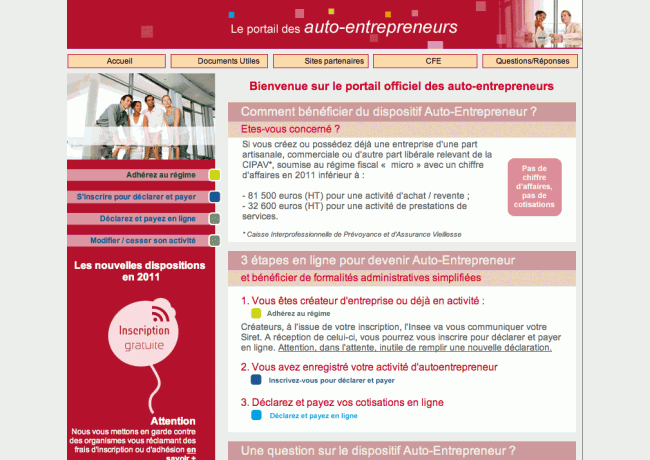 01 - Accueil du site lautoentrepreneur.fr