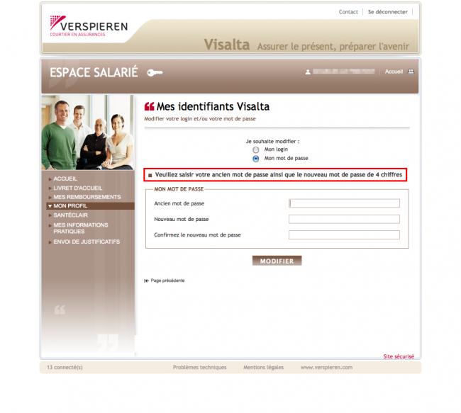 Interlude sécurité - un mot de passe à 4 chiffres chez Verspieren