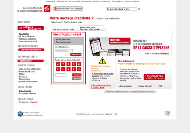 Interlude sécurité - le clavier spécial 4 chiffres du site de la Caisse d'épargne