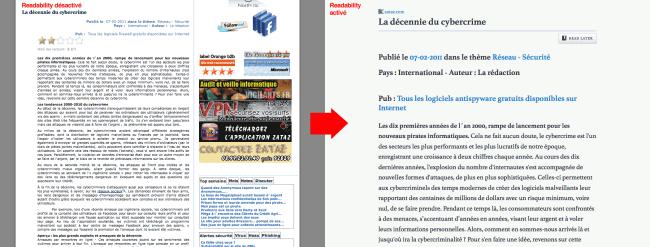 Readability - article de zataz.com sans (à gauche) et avec (à droite) l'extension