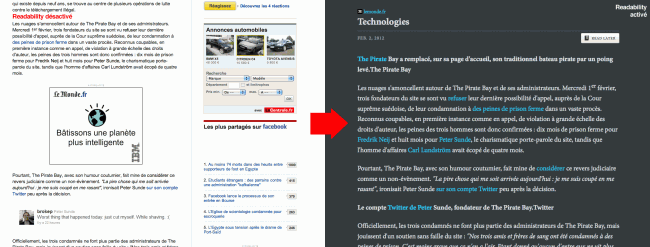 Readability - article du Monde sans (à gauche) et avec (à droite) l'extension