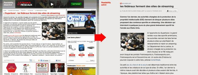 Readability - article de Clubic sans (à gauche) et avec (à droite) l'extension
