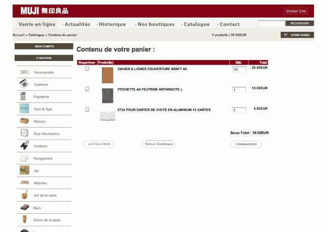 Muji.fr - page panier
