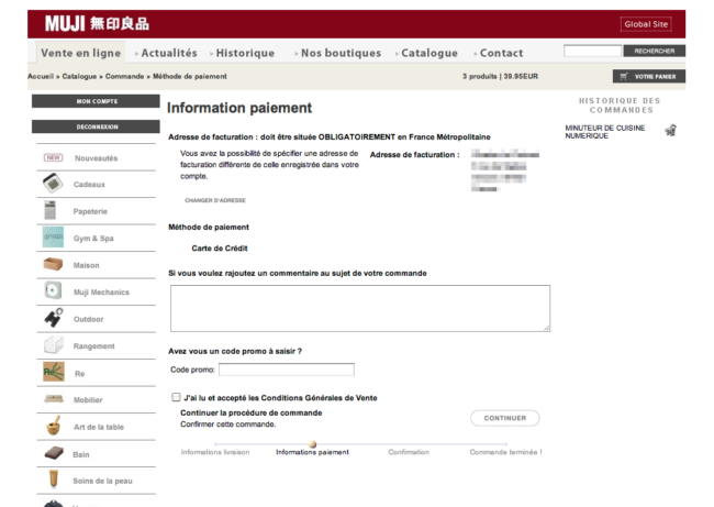 Muji.fr - page paiement