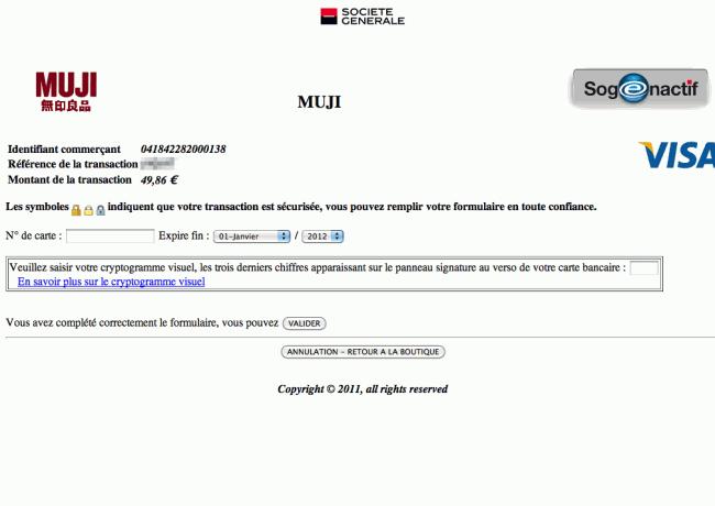 Muji.fr - renvoi sur le template de la Société Générale
