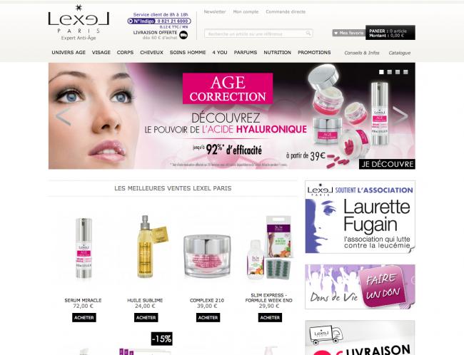 Lexel cosmétiques - page d'accueil