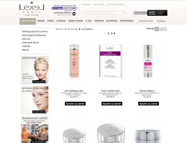 Lexel cosmétiques - pageliste traditionnelle