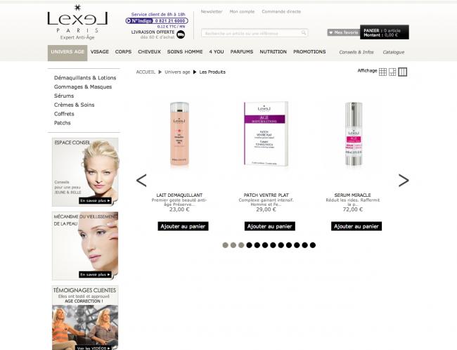 Lexel cosmétiques - pageliste carrousel