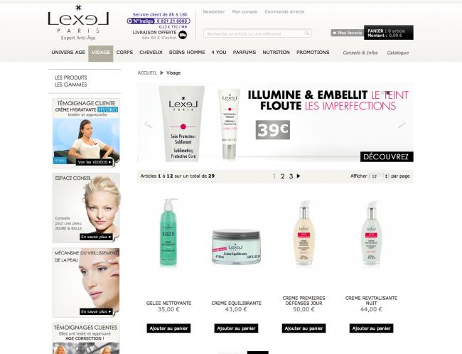 Lexel cosmétiques - pageliste alternative