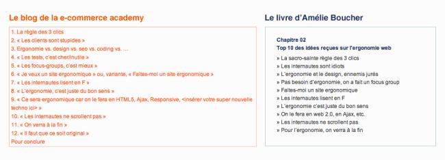 Comparaison blog e-commerce academy / livre d'Amélie Boucher