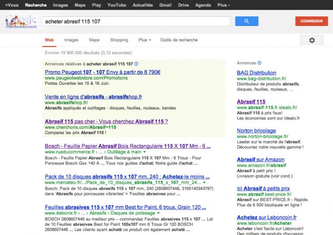 """Google.fr - recherche """"acheter abrasif 115 107"""""""