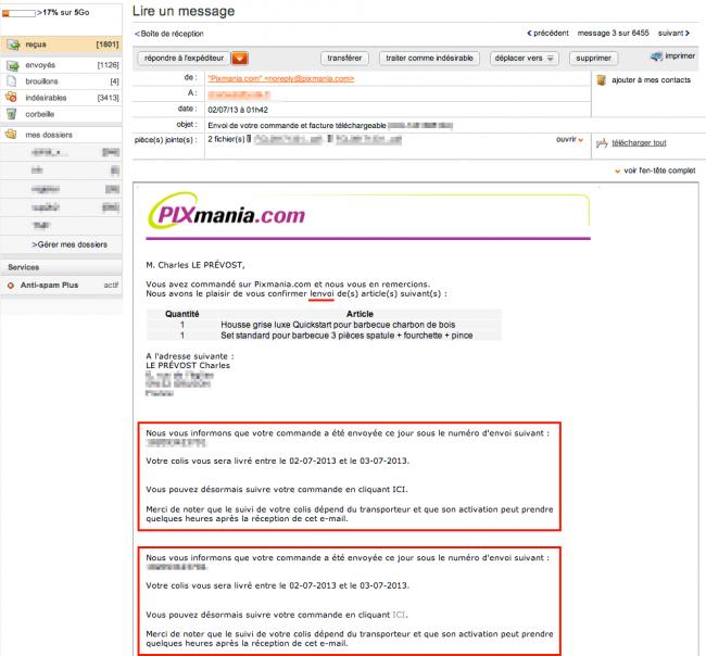Pixmania - mail de confirmation d'envoi
