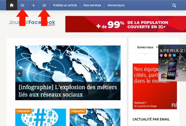 Site internet de journal-facebook : deux menus cachés derrière deux pictos identiques