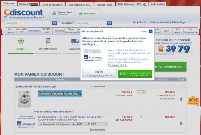 Cdiscount - suppression garantie sérénité