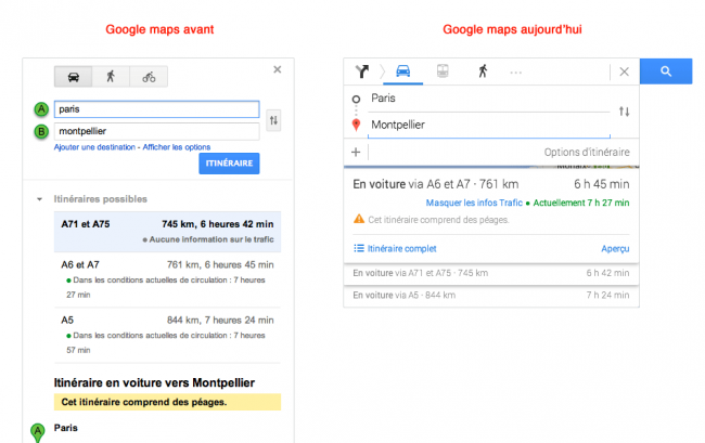 Google Maps : avant, après
