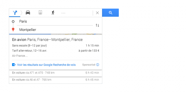 Google Maps : service de vente de billets d'avion