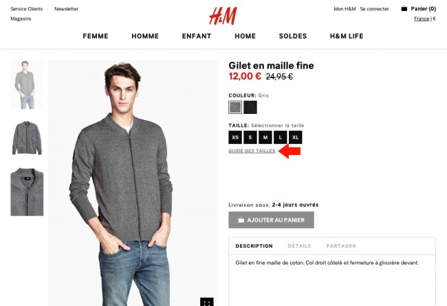l'importance du retour utilisateur - 01 : la fiche produit d'H&M