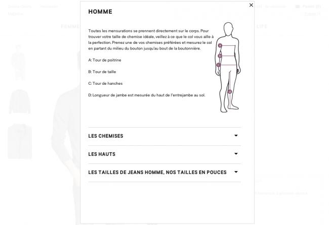 l'importance du retour utilisateur - 03 : affichage OK du guide des tailles