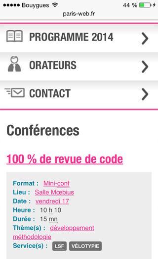 Web mobile : programme du site de Parisweb